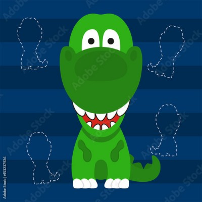 Fototapeta cute little t rex green color kids t shirt design