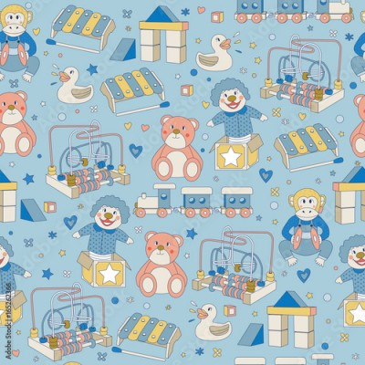 Fototapeta Seamless Pattern Children Vintage Toys Blue